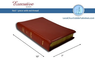 Mid-Size Large Print Center Column Reference KJV Bible (Red, 1 Piece Calfskin Leather, Red Letter)