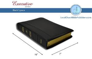 Mid-Size Large Print Center Column Reference KJV Bible (Black, 3 Piece Calfskin Leather, Red Letter)
