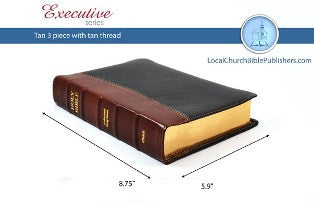 Hand Size Classic KJV Study Bible (Tan/Black, Ironed Calfskin Leather) - Book Heaven - Challenge Press from Local Church Bible Publishers
