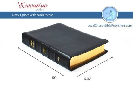 Mid-Size Classic Study KJV Bible (Black, 1 Piece Calfskin Leather, Black Letter)
