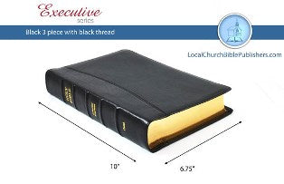 Mid-Size Classic Study KJV Bible (Black, 3 Piece Calfskin Leather, Black Letter)