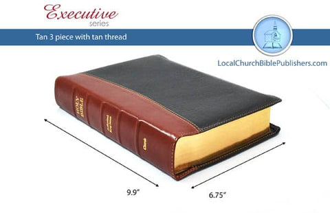 Mid Size Note Taker's Text 3-Piece KJV Bible (Black, Tan Spine, Calfskin Leather, Black Letter) - Book Heaven - Challenge Press from Local Church Bible Publishers
