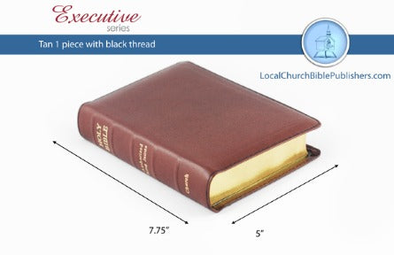 Compact Center Column Reference KJV Bible (Tan, 1 Piece Calfskin Leather, Red Letter)
