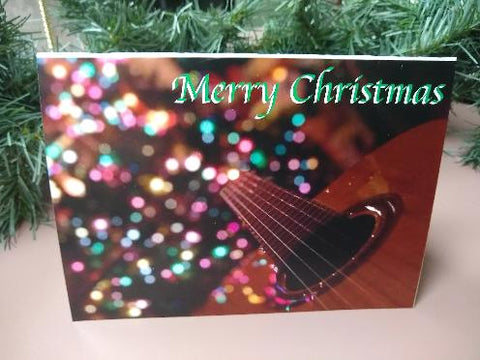 Christmas Card - Guitar & Lights (Designs by Jaya - Card 1)