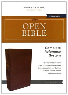 The KJV Open Bible (Brown Genuine Leather, Red Letter)