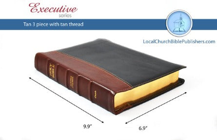 Mid-Size Wide Margin Text KJV Bible (Tan/Black, 3 Piece Calfskin Leather, Black Letter)