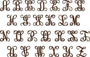 wood vine monogram letters