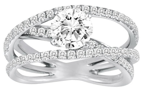 18K White Gold Crossing Diamond Engagement Ring - Diadori