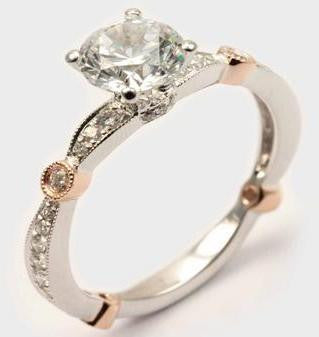 18K White & Rose Gold Diamond Engagement Ring - Diadori