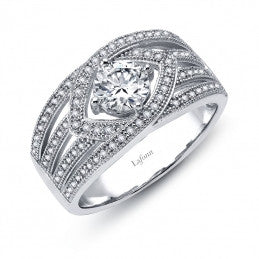 Split Shank Round Center Stone Ring - Lafonn R0127CLP