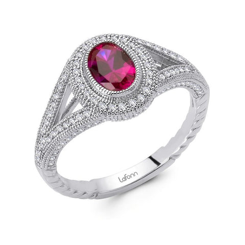 Lab Grown Oval Ruby Ring - Lafonn R0090CRP