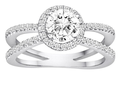 Split Shank Round Halo Diamond Engagement Ring - Diadori