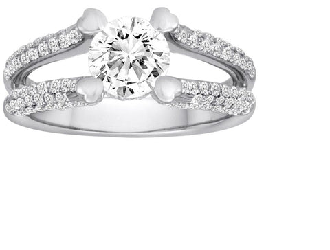 Pave Split Shank Diamond Engagement Ring - Diadori