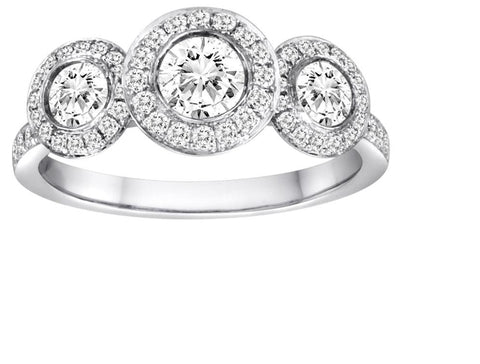 Three Stone Halo Engagement Ring - Diadori
