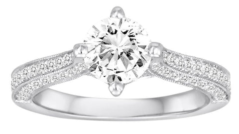 18K White Gold Milgrain & Pave Engagement Ring - Diadori