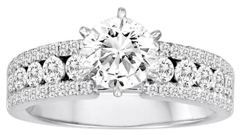 18K White Gold Channel Set Diamond Engagement Ring - Diadori