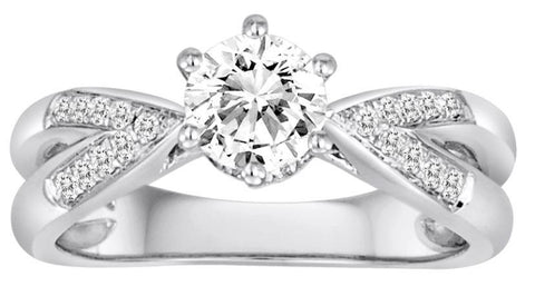 18K White Gold Split Shank Six Prong Diamond Engagement Ring - Diadori