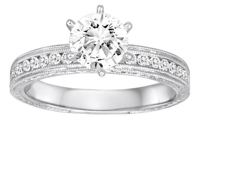 18K White Gold Milgrain Detailed Diamond Engagement Ring - Diadori