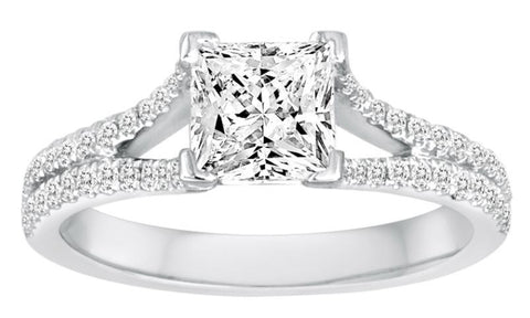 Split Shank Princess Cut Diamond Engagement Ring - Diadori