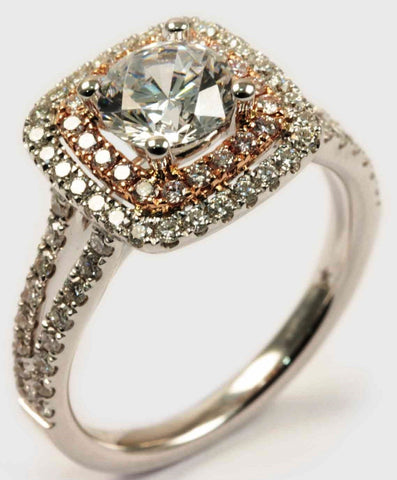 18K White & Rose Gold Double Halo Diamond Engagement Ring - Diadori