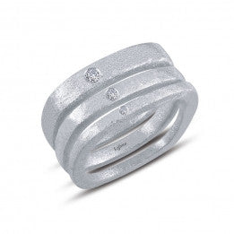 Set of 3 Squared, Brushed Finish Rings - Lafonn R0221CLP