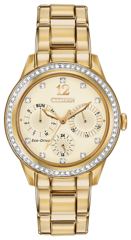 FD2012-52P Citizen Women's Eco-Drive Silhouette Crystal Champagne Dial Watch