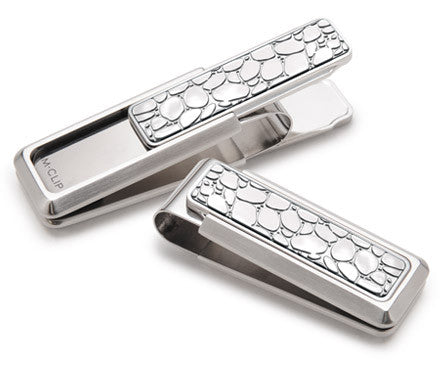 Stainless Steel with Polished River Rock Money Clip