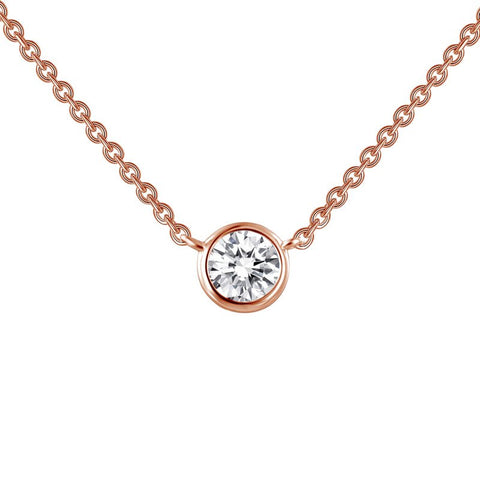 Bezel Set Solitaire Necklace - Lafonn N0030CLR18