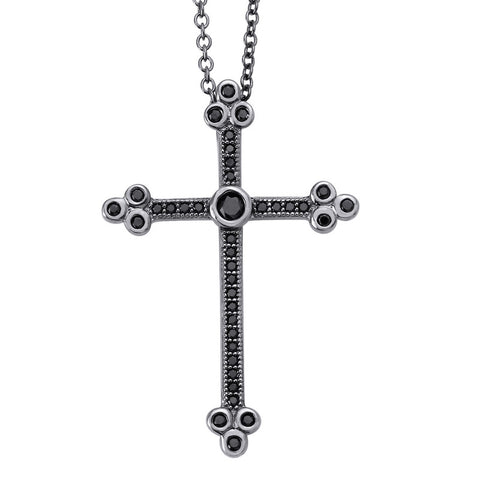 Black Ornate Cross Pendant - Lafonn P0075BKB18