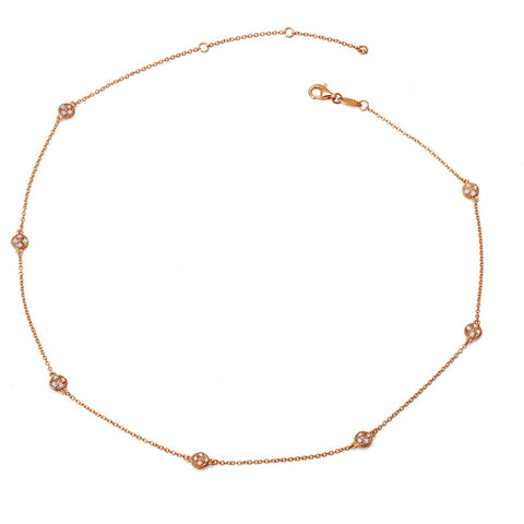 Dots Station Rose-Tone Necklace - Lafonn 9N017CLR36