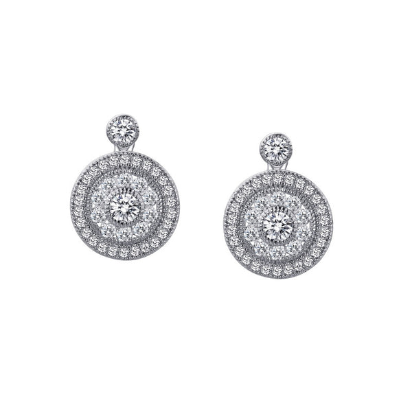 Double Halo Round Drop Earrings Lafonn E0056clp00 Pauling