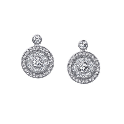 Double Halo Round Drop Earrings - Lafonn E0056CLP00