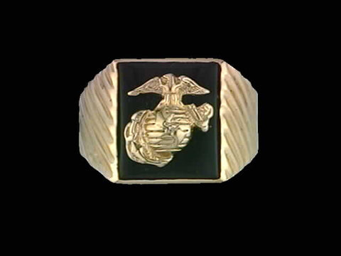 14kt Marine Corps Insignia Onyx Ring