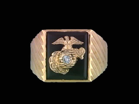 14kt Marine Corps Insignia Onyx Ring w/0.06 ct Diamond