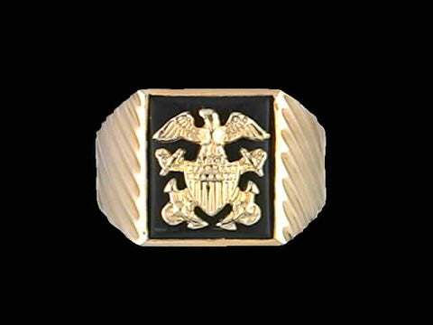 14kt Officer Crest Onyx Ring
