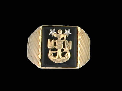 14kt Master Chief Insignia Onyx Ring
