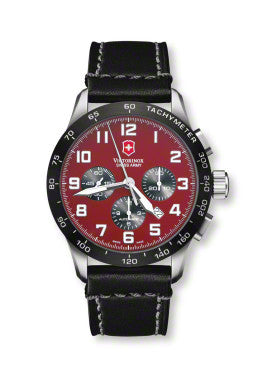 Airboss Mach 6 Black Leather Automatic Chronograph Red Dial Watch 24785