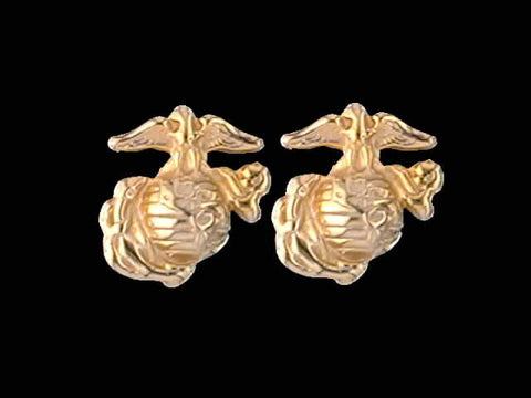 14kt Marine Corps Post Earrings