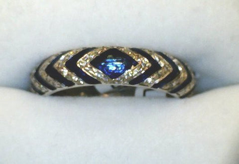 Diamond and Blue Enamel Chevron Ring