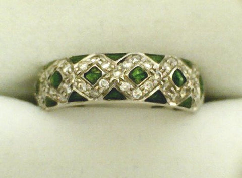 "Green Enamel W/Diamond ""X""s Ring - Hidalgo"