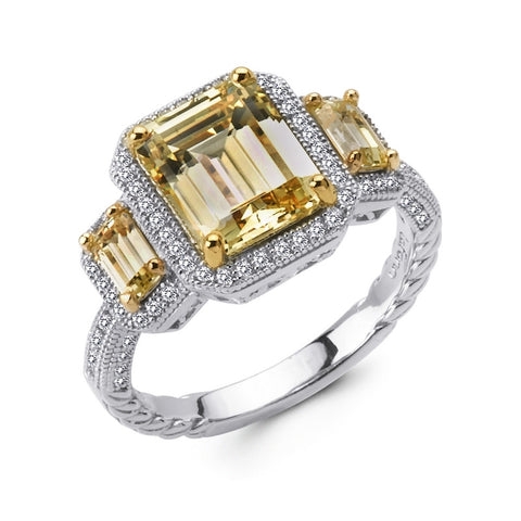 Emerald Cut 3 Stone Two-Tone Ring - Lafonn R0070CAT