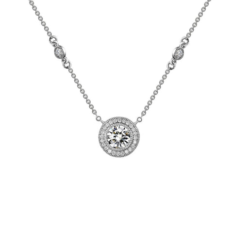 Halo Necklace with Bezel Accents - Lafonn N0014CLP18