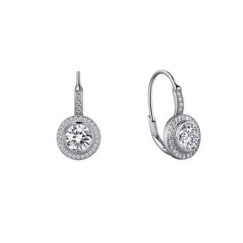 Lever Back Round Halo Earrings - Lafonn E0003CLP00