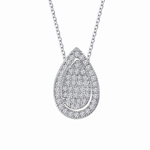 Pave Pear Shape Necklace W/ Halo - Lafonn P0118CLP18