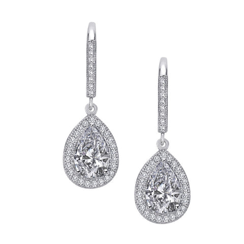 Pear Halo Drop Earrings - Lafonn E0074CLP00