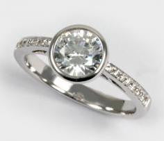 Round Bezel Set Diamond Engagement Ring - Diadori