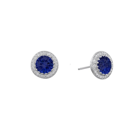 Round Blue Halo Stud Earrings - Lafonn E0053CSP00
