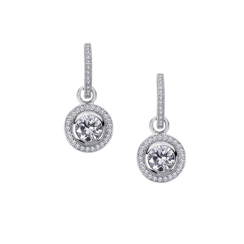 Round Halo Drop Earrings - Lafonn E0084CLP00