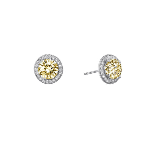 Round Yellow Center Halo Stud Earrings - Lafonn E0052CAP00