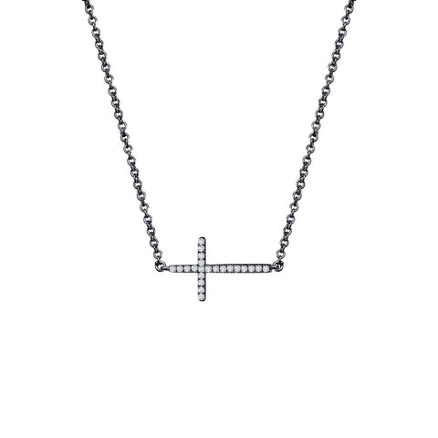 Small Black Sideways Cross Necklace - Lafonn N2001CLB18